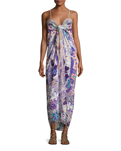 Embellished Tie-Front Maxi Dress, Purple Multicolor