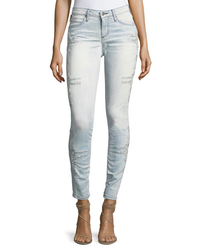 Chapa Side-Stitched Skinny Jeans, Light Blue