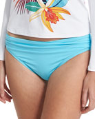 Shirred Hipster Sash Solid Swim Bottom, Blue