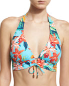 Tropical-Print Halter Swim Top, Blue Multicolor