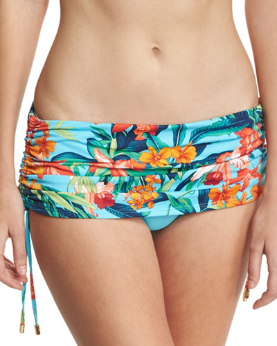 Tropical-Print Skirted Swim Bottom w/ Drawstrings