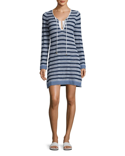 Linen-Blend Striped Tunic Sweater Coverup, White Pattern