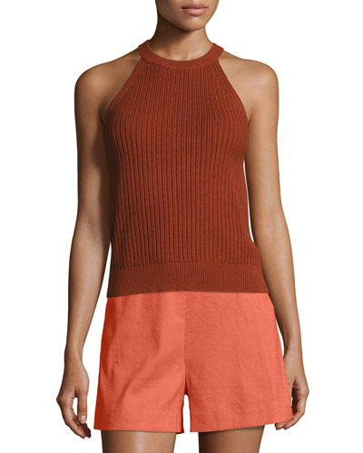 Waxson Rib Tank Sweater, Red