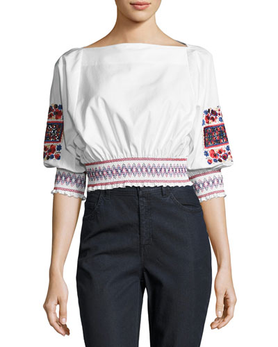 Cora Embroidered Crop Top, White Pattern
