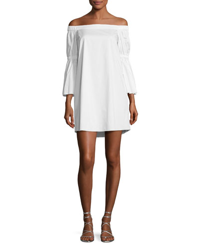 Satin Poplin Off-the-Shoulder Dress, White
