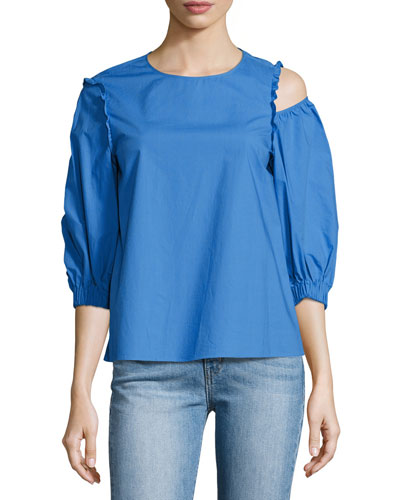 Sculpt Poplin Top, Blue