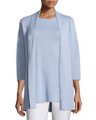 3/4-Sleeve Silk/Organic-Cotton Jacket, Delfina, Petite