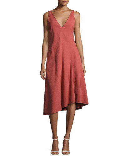 Tadayon New Stretch Linen Midi Dress, Red