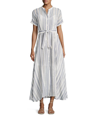 Avinka Belted Striped Maxi Shirtdress