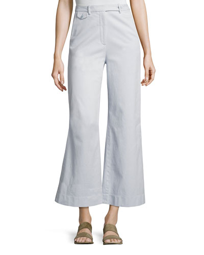 Nadeema Relaxed Flare-Leg Chino Pants, Blue