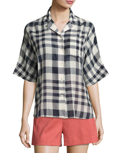 Ralfinn Plaid Cotton Top, Blue
