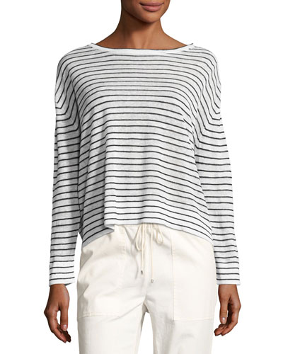 Trinella Striped Linen Top, White/Black