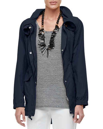 High-Collar Weather-Resistant Utility Jacket, Plus Size