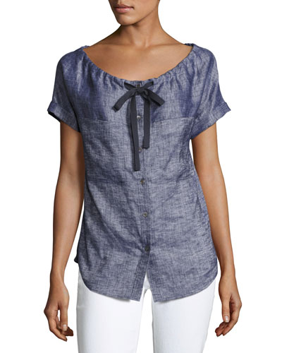Velvela Tierra Wash Short-Sleeve Blouse, Blue