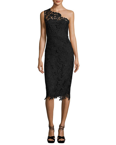 Evie One-Shoulder Floral Lace Cocktail Dress, Black