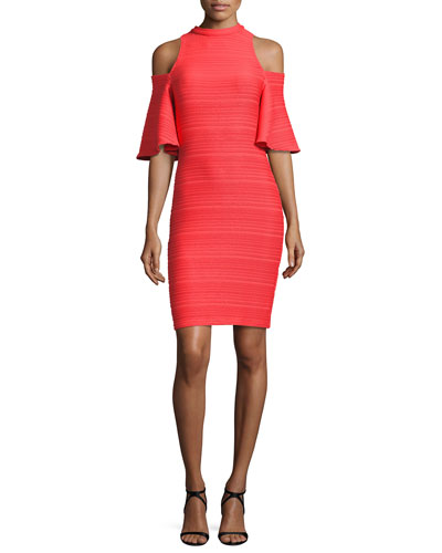 Fillmore Cold-Shoulder Ribbed Cocktail Dress, Pink