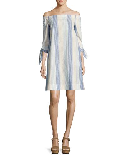 Natayla Caribbean-Striped Off-the-Shoulder Dress, Multi