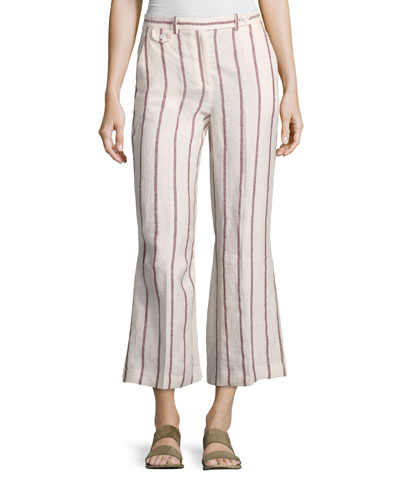 Nadeema Wide-Stripe Linen Cropped Pants, White