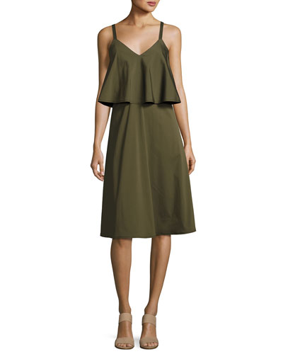 RiRi Stretch-Cotton Popover Dress, Dill