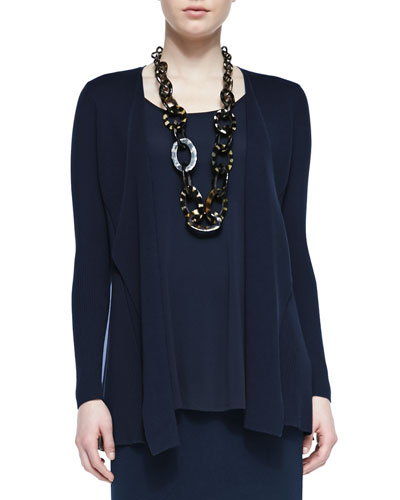Silk Cotton Interlock Jacket, Midnight