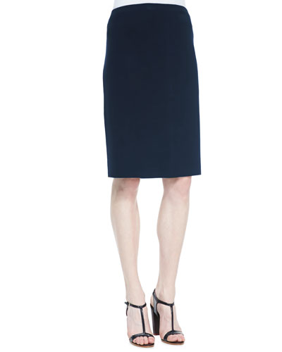 Silk-Cotton Straight Skirt, Midnight, Petite