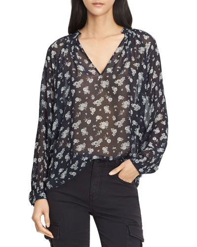 Calico Floral Shirred Neck Blouse, Coastal Blue