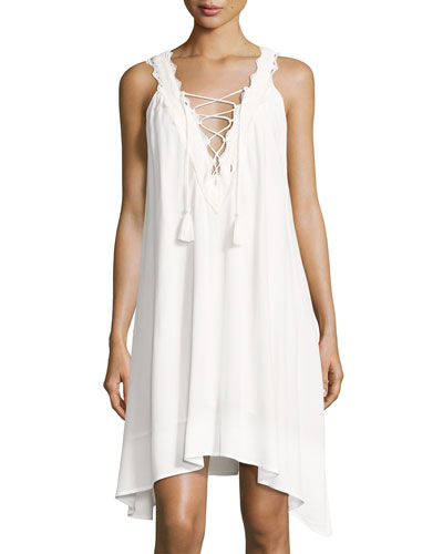 Laced-Up V-Neck Dress, Off White