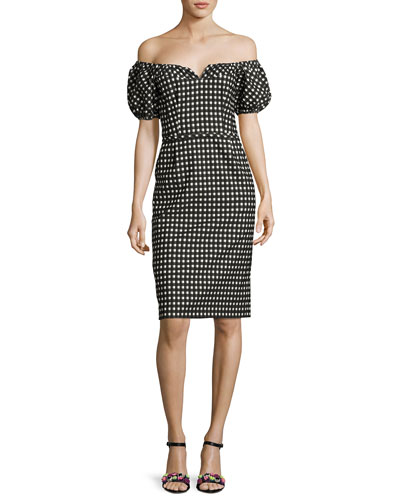 Cheeky Off-the-Shoulder Check Sheath Dress, Black