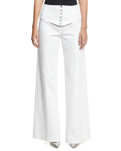 Hook Up Wide-Leg Pants, White