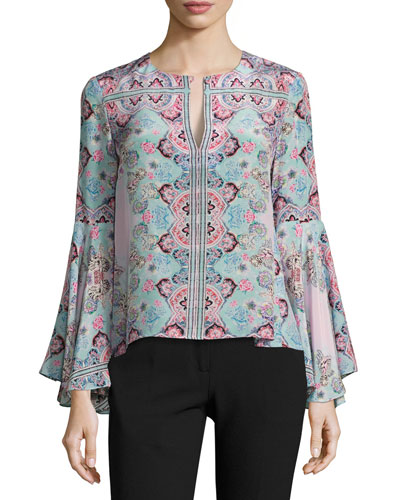 Other World Silk Paisley Blouse, Blue