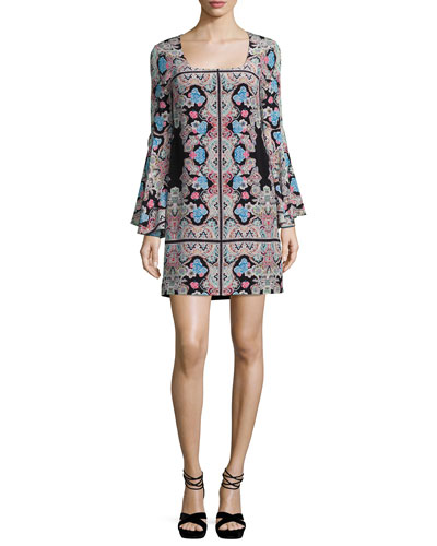 Stargazer Bell-Sleeve Silk Kaleidoscope Mini Dress, Black/Multicolor