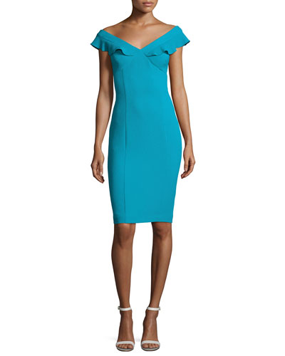 Emilia Off-the-Shoulder Scuba Cocktail Dress, Blue