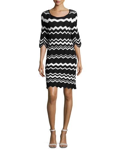 Birdie 3/4-Sleeve Zigzag Sweaterdress, Black