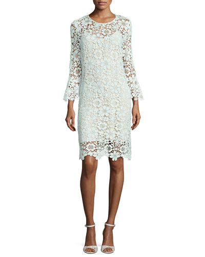 Jemima Floral Lace Sheath Dress, Light Blue