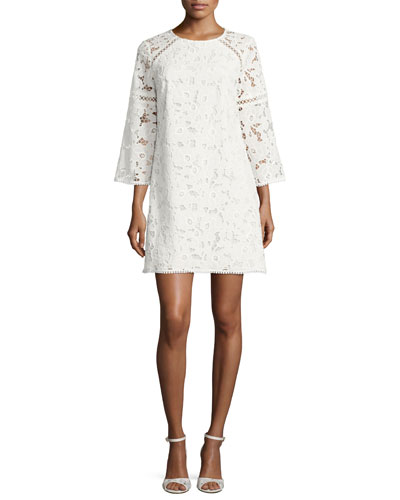 Rae 3/4-Sleeve Mini Lace Cocktail Dress, White