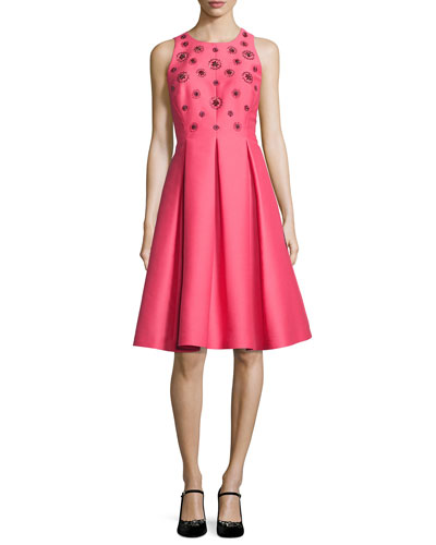 pleated beaded taffeta cocktail dress, pink