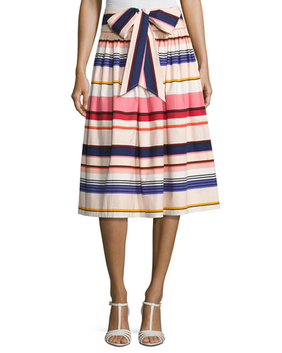 berber striped stretch poplin midi skirt, multicolor