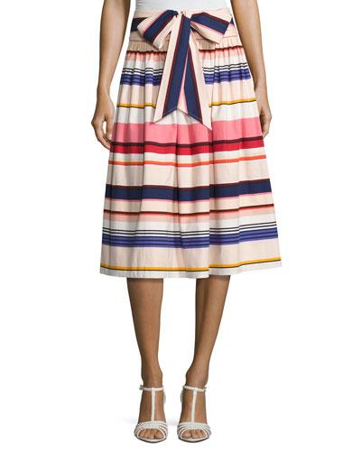 berber striped stretch poplin midi skirt, multicolor