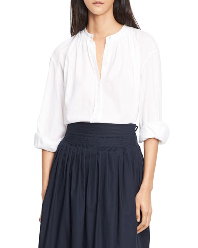 Soft Pleated Cotton Blouse, White