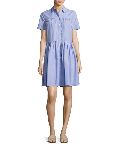 short-sleeve striped poplin shirtdress, white/blue
