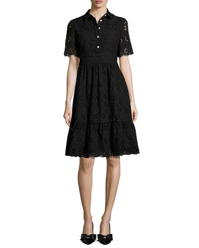 short-sleeve cotton eyelet shirtdress, black