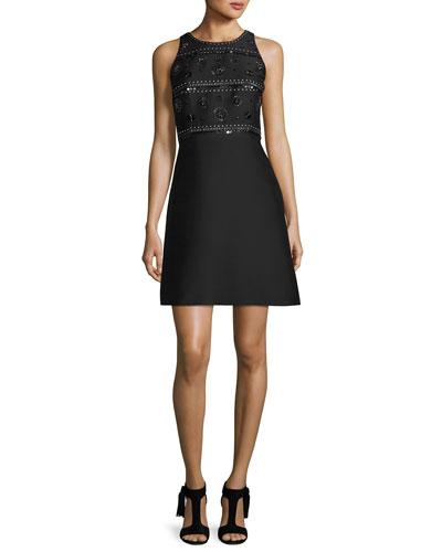 sleeveless beaded cocktail dress, black