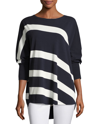 Dolman-Sleeve Bicolor Striped Matte Crepe Sweater, Ink/Cloud