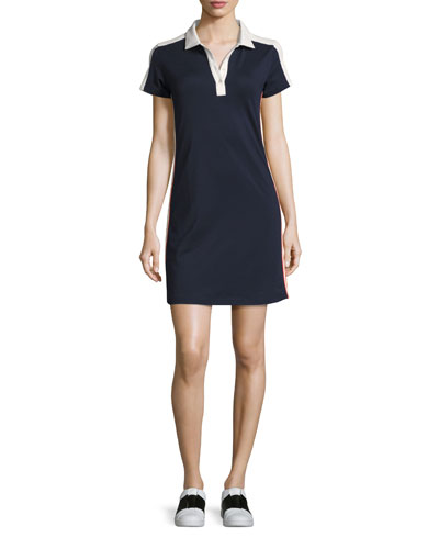 Performance Piqué Polo Dress, Navy