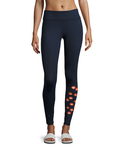 Lip Graphic Performance Leggings, Navy