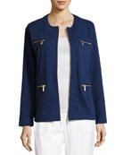Stretch Interlock Zip-Front Jacket