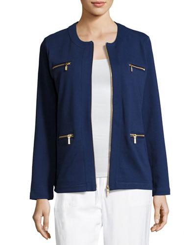 Petite Stretch Interlock Zip-Front Jacket