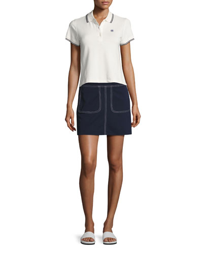 Pique Contrast-Stitch Tennis Skirt, Navy