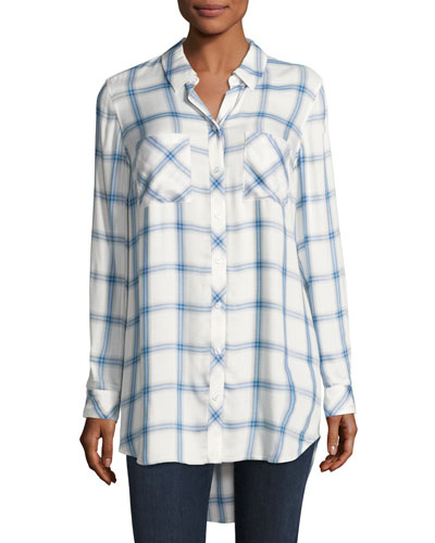 Long-Sleeve Button-Front Plaid Shirt, Blue/White, Petite