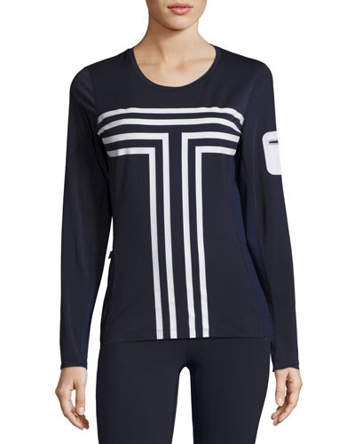 Long-Sleeve Performance Graphic Top, Navy